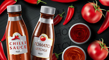 Chilli Hot Sauce Product Ads And Chili Peppers In Fire Shape With Burning Fire Effect On Black Background, 3d Illustration