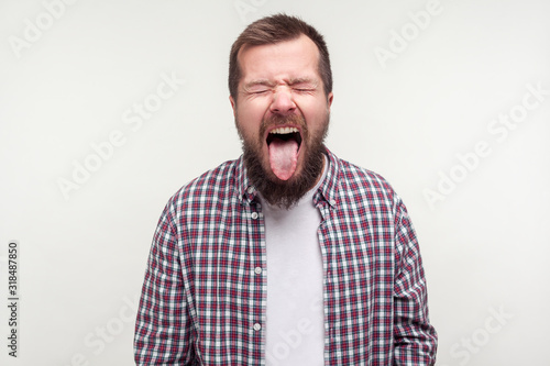 Obraz na płótnie Portrait of crazy funny bearded man in plaid shirt standing with tightly closed eyes and wrinkled face, sticking out his tongue, naughty expression
