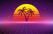 80s Retro Sci-Fi Background, R...