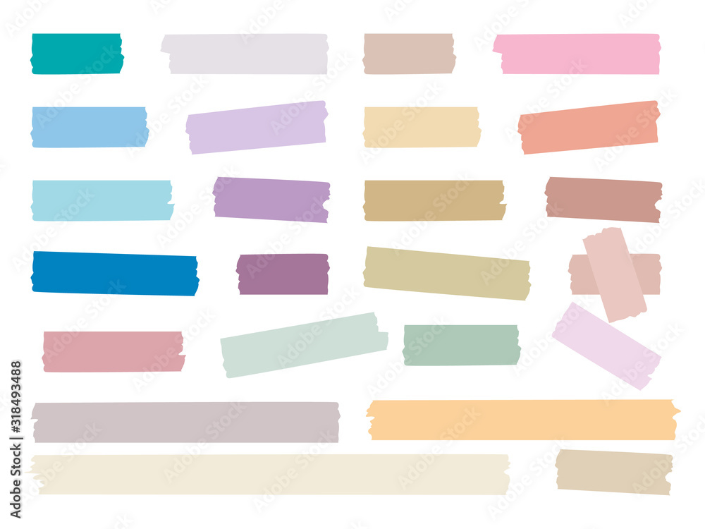 Fototapeta Sticky strips. Colored decorative tape mini washi sticker decoration vector set. Sticky tape, ripped scrapbook sticker decorative illustration