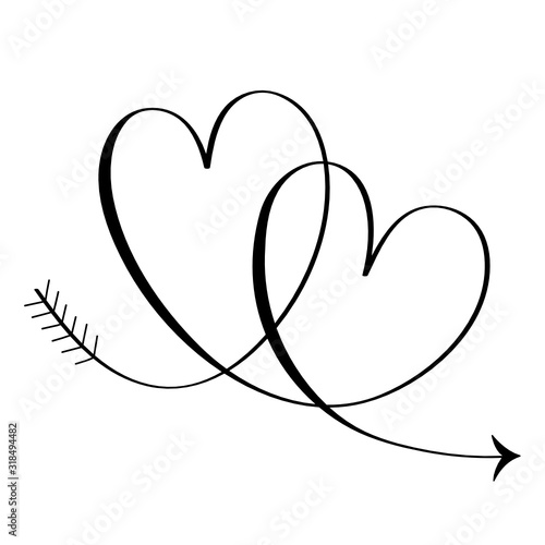 Fototapety, obrazy: Hand-Drawn Vector Interlocking Hearts With Copy Space