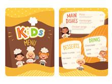 Kids Menu. Childrens Cooking Food Little Chef Restaurant Eating Menu For Little Happy Peoples Vector Cartoon Template. Uniform Chef Children, Childish Menu Restaurant Illustration