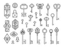 Vintage Locks And Keys. Sketch...