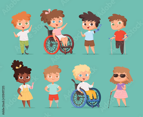 Disability children. Kids sitting in wheelchairs handicapped little persons in school vector cartoon illustrations. Disability kids friendship, child young kid - 318497215