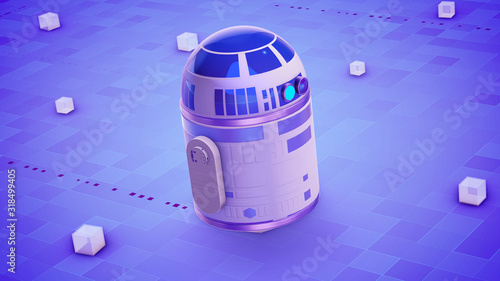 Fototapeta Sci-fi droid functioning on the violet surface