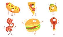 Funny Fast Food Cartoon Characters Collection, Hot Dog, Pizza, Tako, Ham Slice, Burger, Chicken Drumstick, Cafe Or Restaurant Menu Design Element Vector Illustration