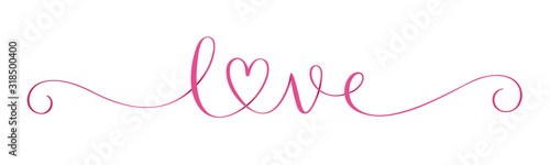 Obraz Wide pink vector LOVE brush calligraphy banner with heart - fototapety do salonu