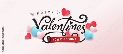 Promo Web Banner for Valentine's Day Sale.Vector illustration for website , posters,ads, coupons, promotional material. - 318500655