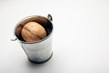 Walnut Bucket White Leather Background