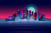 Night City Panorama With Moon ...