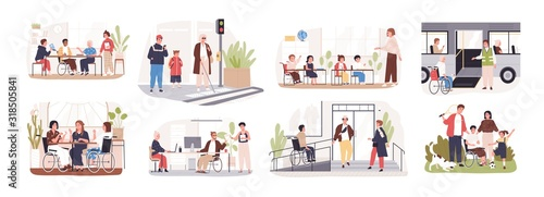 Obraz Set of disabled cartoon people care at public place vector flat illustration. Collection of handicapped person in wheelchairs isolated on white background. Concept of inclusion at modern society. - fototapety do salonu