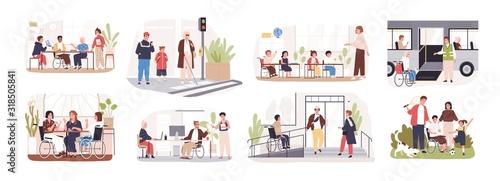 Fotografie, Tablou Set of disabled cartoon people care at public place vector flat illustration