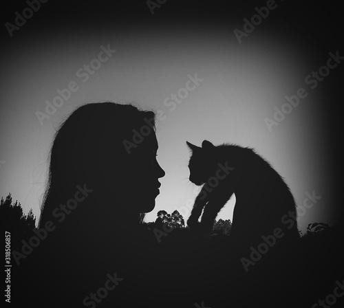 Billede på lærred Silhouette Woman Holding Cat Against Sky