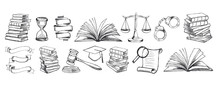 Law Symbols Set. Scales Vector...