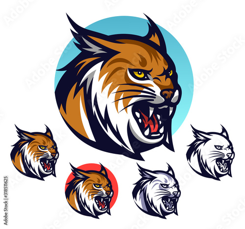 Photo Angry lynx head emblem