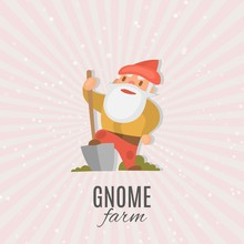 Garden Gnome With Shovel Cartoon Vector Illustration. Funny Dwarf. Fairy Tale. Fantastic Character And Magical Stories Clip Art. Cute Garden Gnome Decorations And Accessories Shop Poster.