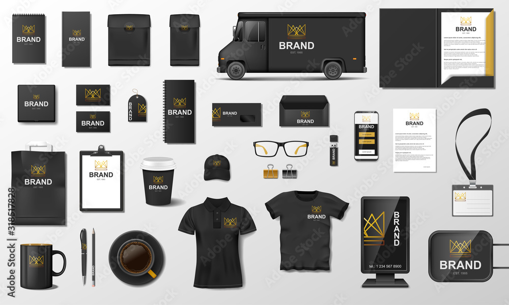 Fototapeta Corporate Branding identity template design. Modern Stationery mockup black and gold color. Business style stationery and documentation. Vector illustration