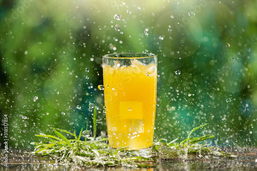Fotomural tall glass with a yellow drink and tarragon on the boards, on the background of