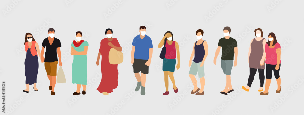 People wearing virus protection masks. Coronavirus prevention vector illustration.