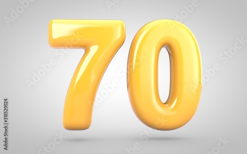 Papel de parede Yellow Bubble Gum number 70 isolated on white background