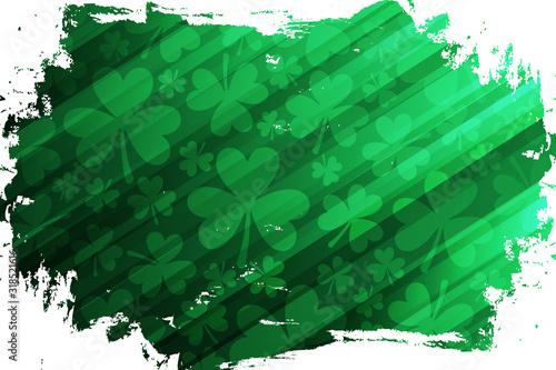 Clovers or shamrocks green brush stroke background for Saint Patrick's Day greetings, Irish national holiday Poster Mural XXL