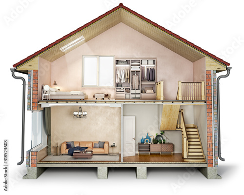Fototapeta House cross section, view on bedroom, living room and hallway, 3d illustration