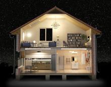 Cross Section Of House Full Of...