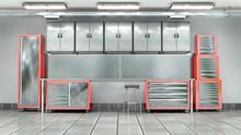 Garage Metal Tool Cabinet. 3d Illustration