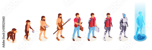 Foto Human evolution of man from ape monkey to digital world technology, life development process vector icons