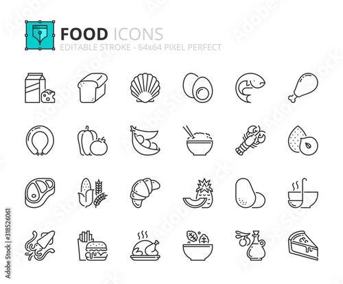 Simple set of outline icons about Food Canvas Print