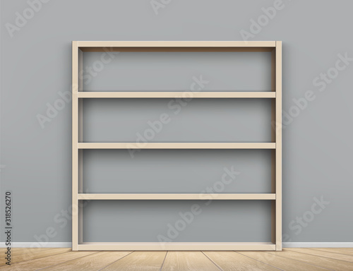 Wooden empty bookshelf in the room. Shelves cabinet Canvas Print
