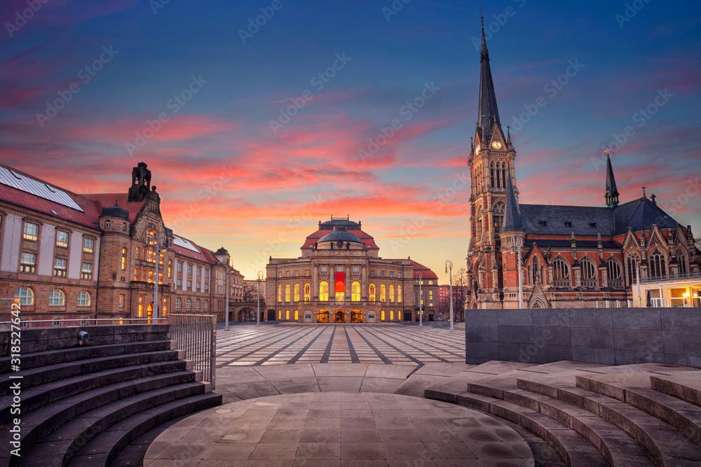 Chemnitz, Germany. Cityscape image of Chemnitz, Germany with Chemnitz Opera and St. Petri Church during beautiful sunset.