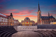 canvas print picture Chemnitz, Germany. Cityscape image of Chemnitz, Germany with Chemnitz Opera and St. Petri Church during beautiful sunset.