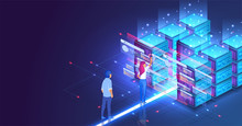 Isometric Concept A Young Woman And Man Creates A Custom Design Datacenter Or Blockchain Background.Hosting Server. UI UX Design. Network Mainframe Infrastructure Website Layout. Landing Page Template