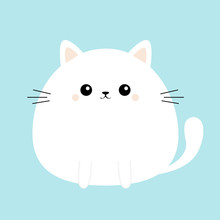 White Cat Kitty Kitten Icon. F...