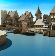 Medieval Harbor Port With Brid...