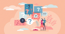 Questions Abstract Art Style Concept, Flat Tiny Person Vector Illustration