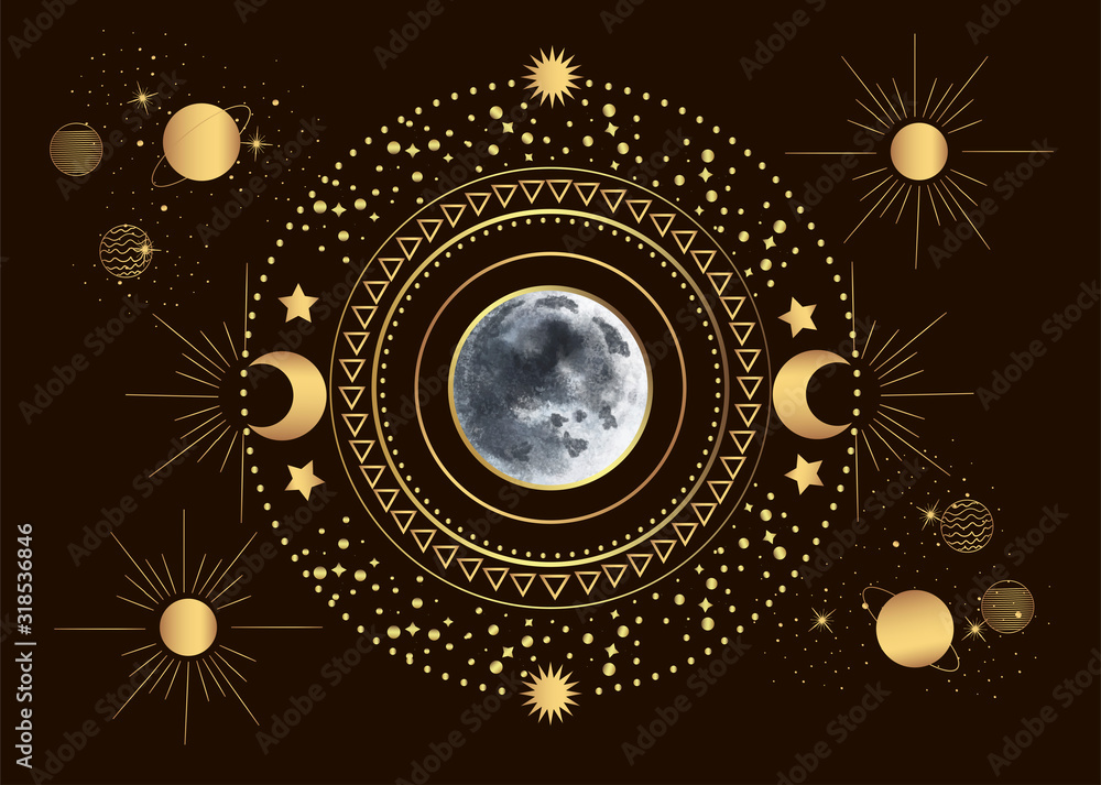 Fototapeta Vector illustration of moon in the center of the solar system, among the sun and planets in vintage engraving style.