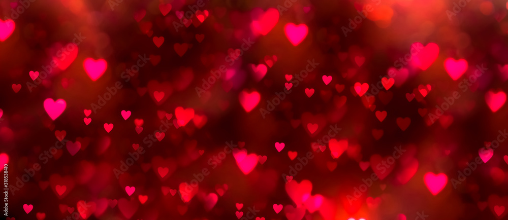 Fototapeta Valentines day background banner - abstract panorama background with red and pink hearts - concept love
