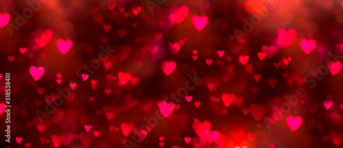 Valentines day background banner - abstract panorama background with red and pink hearts - concept love - 318538410