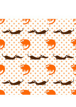 Seamless Pattern With Funny Cats And Dogs. Wallpaper And Fabric