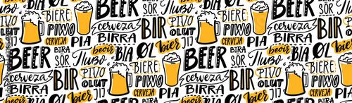Beer text pattern Wallpaper Mural
