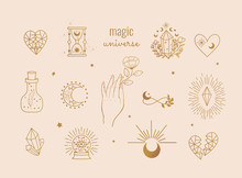 Vector Witch And Magic Collection With: Magic Potion, Moon, Sand Flowers, Infinity Sign, Crystal, Heart, Crystal Ball