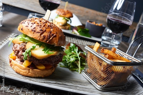 Obraz na plátně Close-Up Of Fast Food Served In Plate On Table