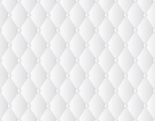 Vector Seamless Texture Decorative Upholstery Soft Gloss Quilted Background. Luxury Template With Gold Thread. White Background.