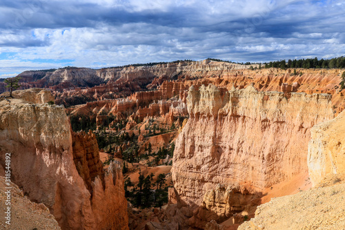 Amazing View to the Geological Structures called hoodoos in the Bryce Canyon National Park, USA