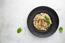 Risotto With Mushrooms In A Bl...