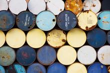 Full Frame Shot Of Metallic Barrels