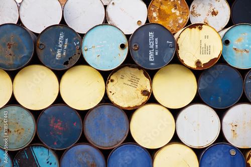 Obraz na plátně Full Frame Shot Of Metallic Barrels