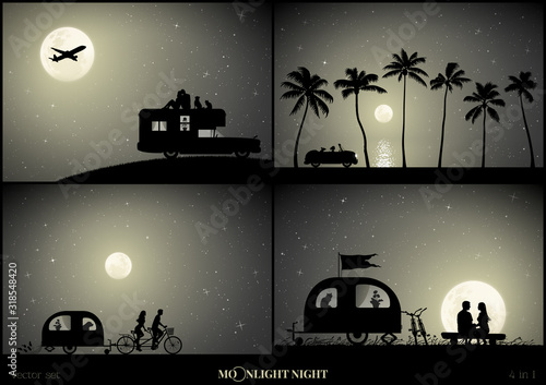 Photo Set of vector illustration with silhouettes of people in camper on moonlit night